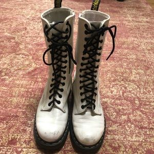 Dr Martens tall white boots with zipper
